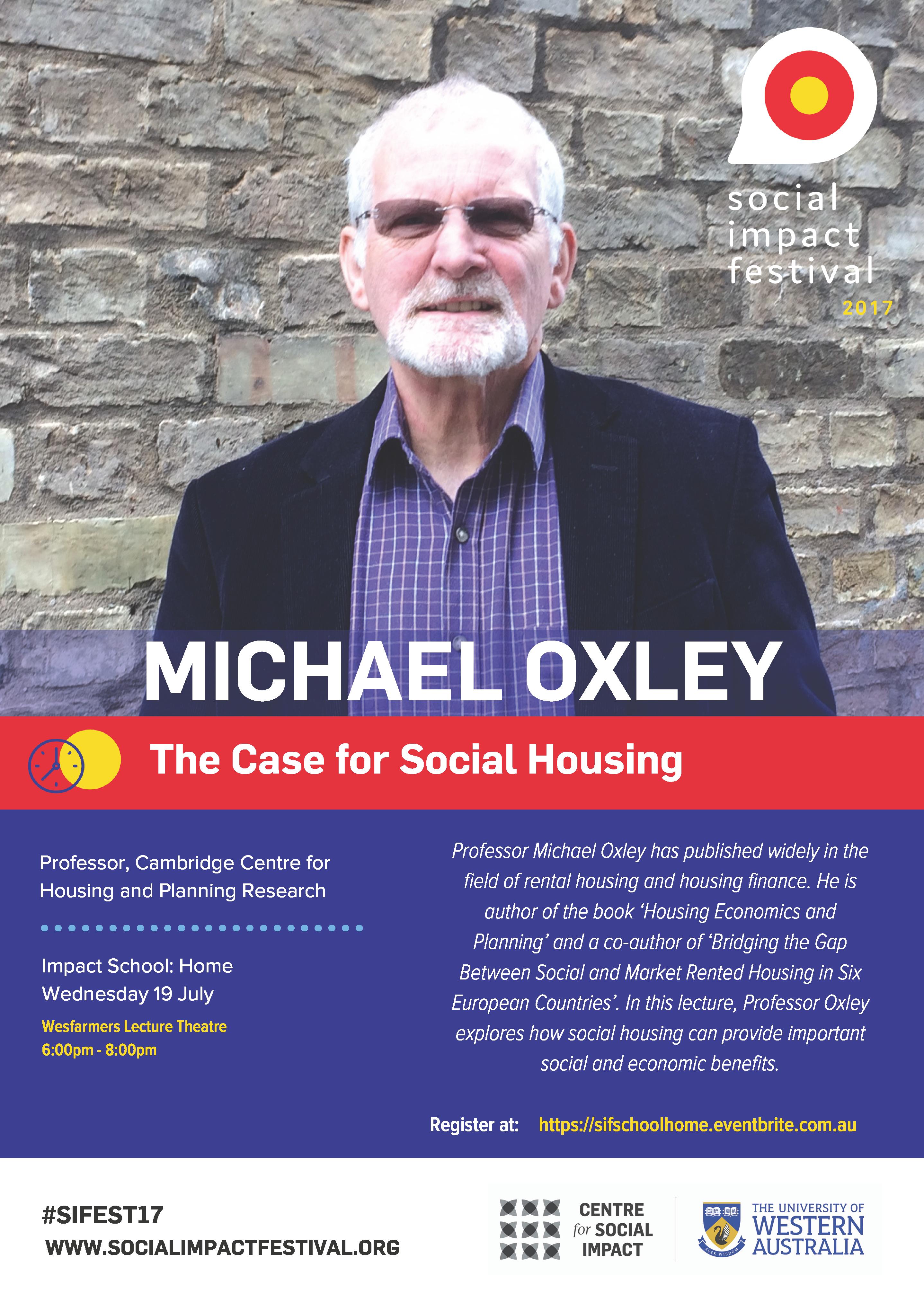 Professor Michael Oxley: keynote speaker at the 2017 Social Impact Festival