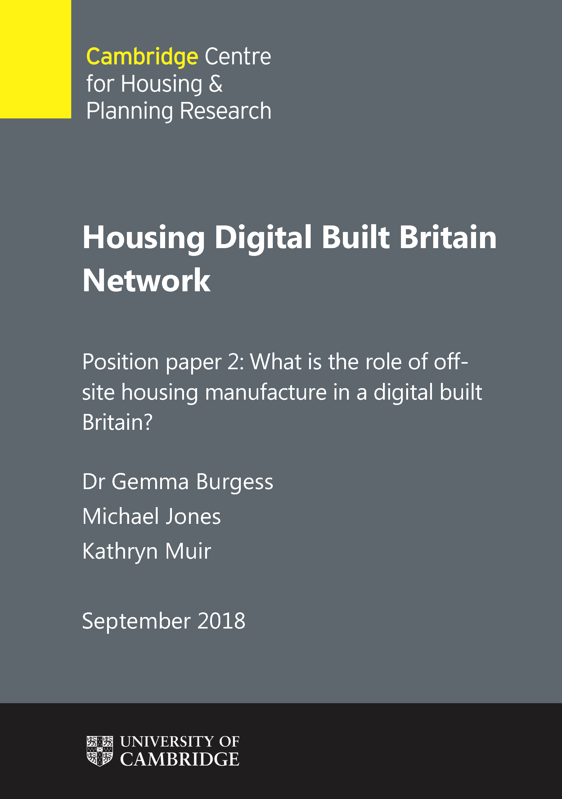 Second position paper for Digital Built Britain Housing Network published