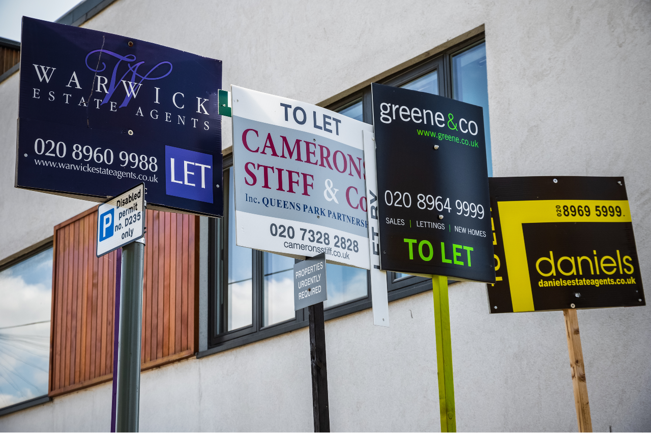 Group of to let signs